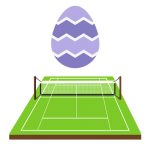 An Easter egg floating above a tennis court